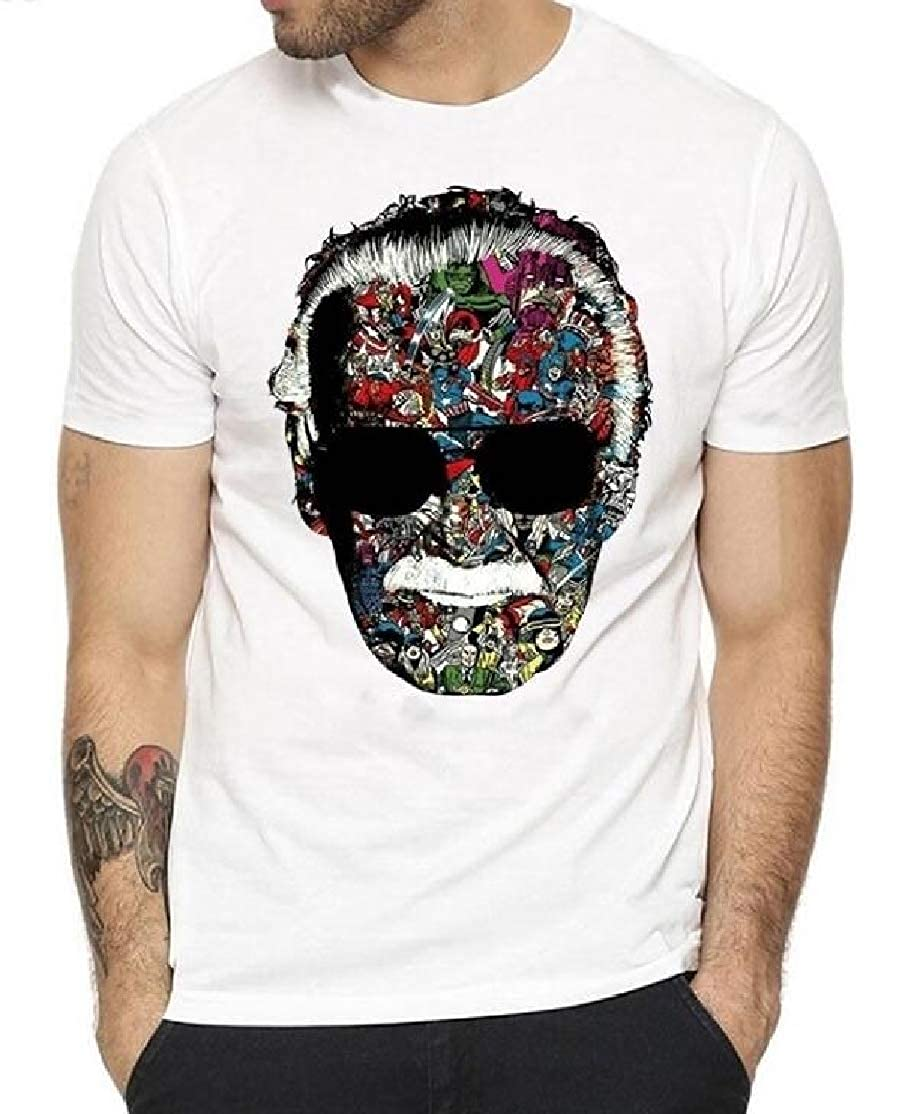 Hurrg Mens Stylish Casual Round Neck Short Sleeve Floral Skull Printed T-Shirts
