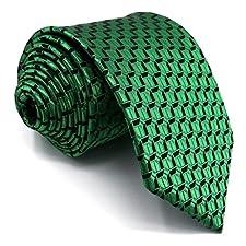 Shlax&Wing Solid Green Mens Ties Silk Necktie Suit Set 57.5