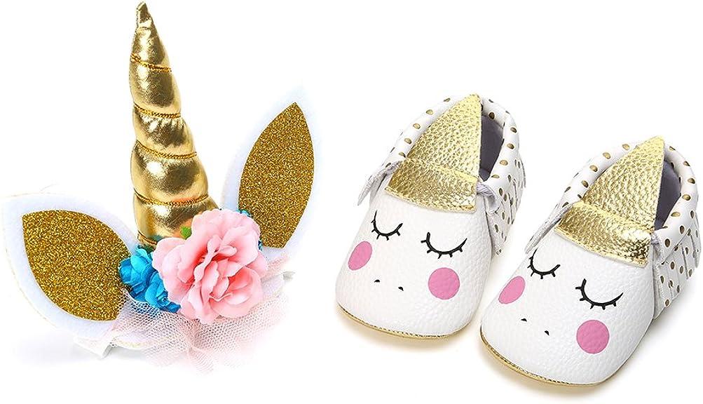 Zapatos de Niña con Diadema Regalo Set Unicornio Flor Suave Suela Zapatillas Antideslizantes Zapatos de Princesa
