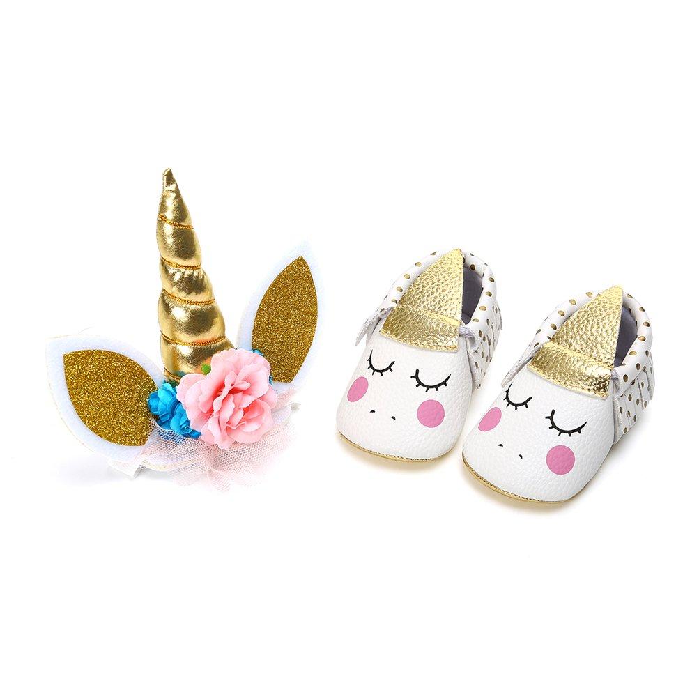 EDOTON Bébé Fille Chaussures de Licorne avec Bandeau Cadeau Ensemble pour Anniversaire Bambin Fille Semelle Souple Anti-dérapant Princesse Chaussures
