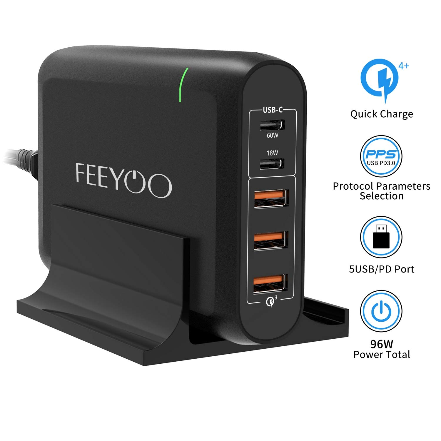 USB C Wall Charger, FEEYOO 96W 5-Port USB Type-C Desktop Charger with 60W/18W Power Delivery Port and Quick Charger 3.0 3 Port Compatible with MacBook Air 2018, iPad Pro 2018, iPhone Xs/XR/X and More