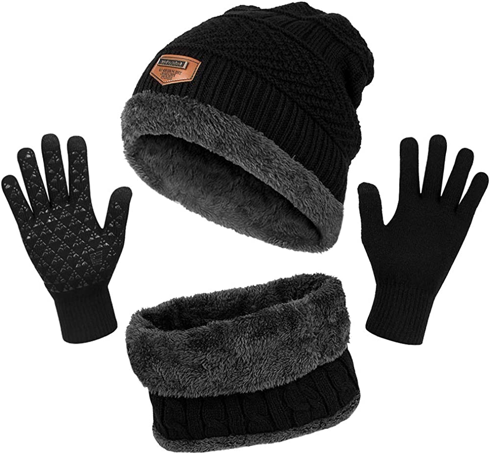 Winter Accessories Sets Winter Thicken Fleece Thermal Knit Hat Scarf Gloves Set,for Kids children Boys Girls TAGVO 3 in 1 Warm Beanie Hat Scarf Gloves Set for Kids Aged 3-6