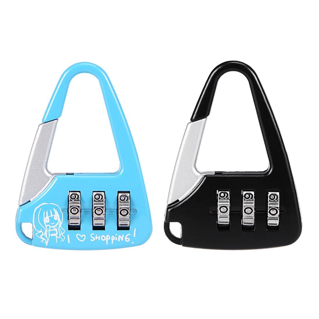 uxcell 2pcs 3 Digit Combination Padlock 3.5mm Shackle Zinc Alloy Lock Blue Black