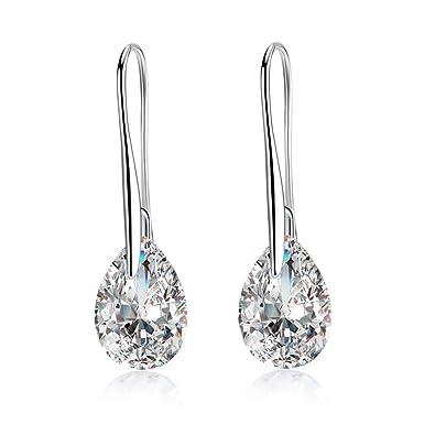 Yazilind Dazzling Silver Plated Princess Cut Cubic Zirconia CZ Flawless Hook Dangle Earrings udB2BT6
