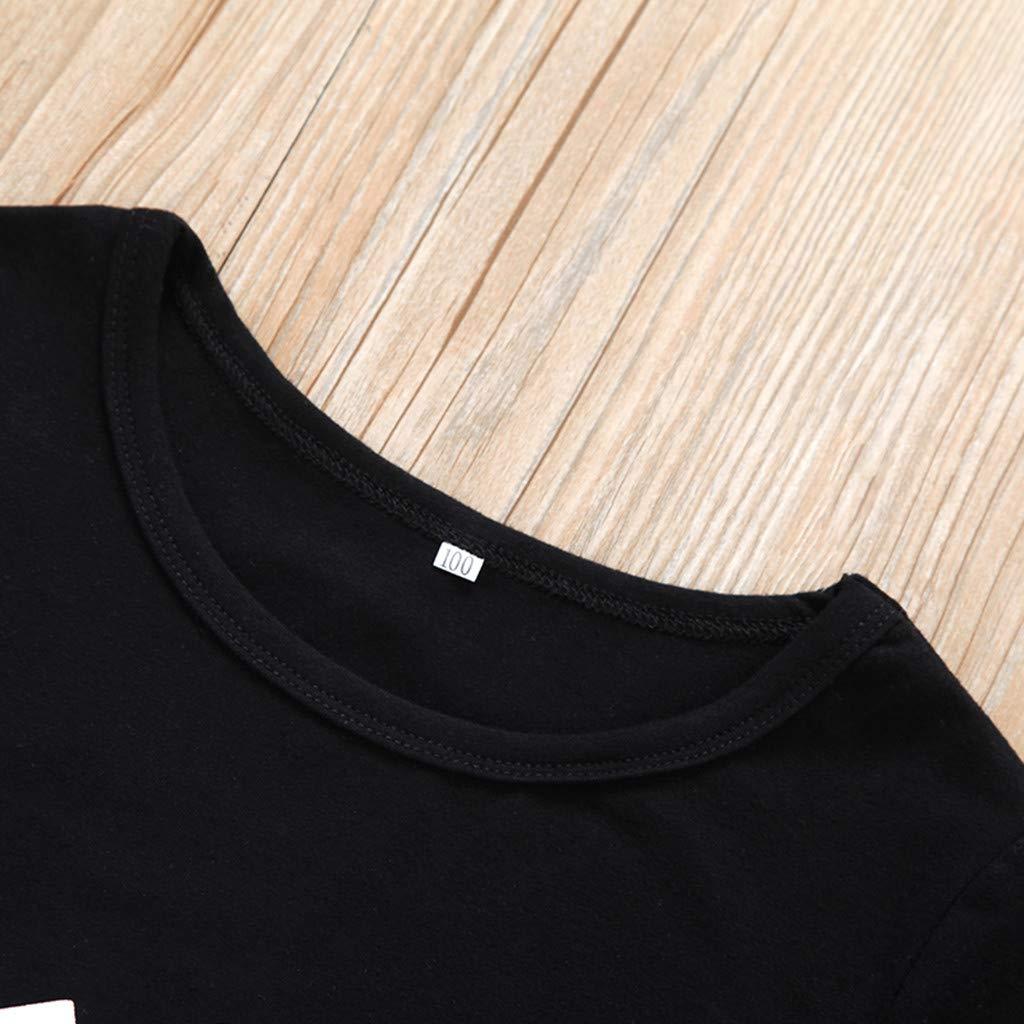 Baby Boys Classic Crew Neck Letter Print T-Shirts Soft Comfy Cotton Tops Black