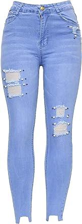 New Women High Waist Black Blue Stretch Knee Cut Skinny Slim Fit Denim Tube Jean