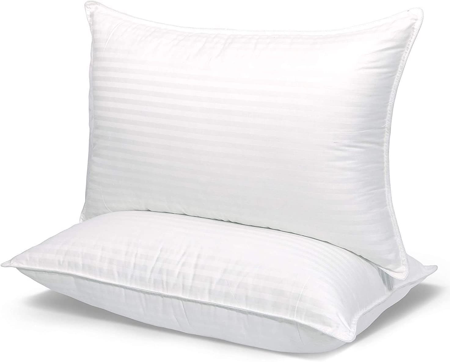 COZYDREAM Hotel Quality Pillows for Sleeping [Set of Two] Premium Plush Fiber,Breathable Cotton Cover Skin-Friendly, King Size, White