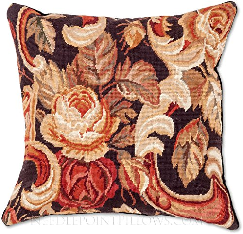 Handmade 100% Wool Needlepoint Decorative Italian Floral Design Flowers Throw Pillow. 20