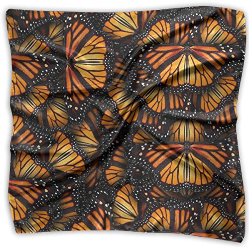 - Large Womens Fashion Silk Neck Shawl Square Satin Scarf, Heaps Of Orange Monarch Butterflies Pattern Printed Silky Bandana Head Scarf Sleeping