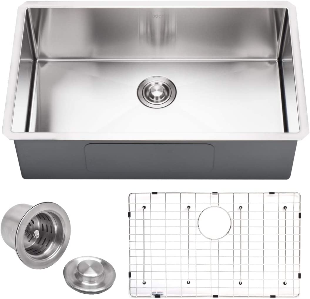 """VADANIA 30-inch Kitchen Sink, 30""""x18""""x10"""", Single Bowl, Undermount, 18 Gauge T304 Stainless Steel, Satin Finish, with Strainer & Bottom Grid, cUPC listed"""
