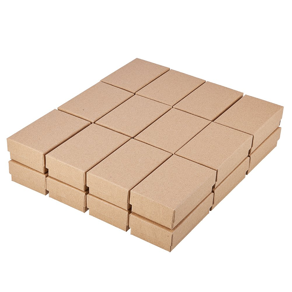 NBEADS 24 Pcs Tan Cardboard Jewelry Box Rectangle Kraft Paper Gift Boxes for Rings Necklaces Pendants