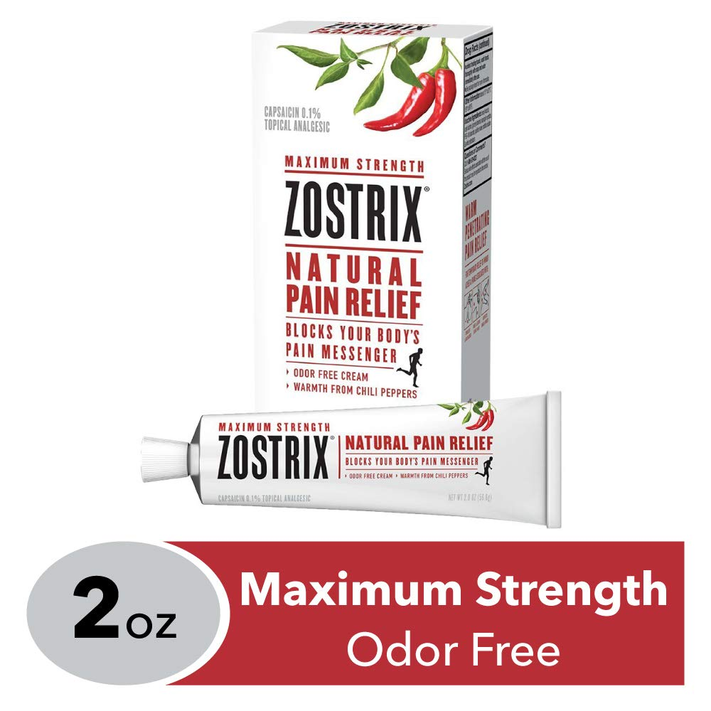 Zostrix Maximum Strength Natural Pain Relief Cream, Capsaicin Pain Reliever, Odor Free, 2 Ounce Tube by Zostrix