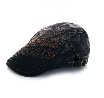 d767ad3c1db Elwow Men s Lace   Embroidery Flat Newsboy Cap Cabbie Hat Gatsby Ivy Cap