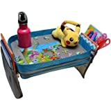 Kids Travel Activity & Snack Tray by On The Go Families- Heavy Duty Side Walls, Solid Lap Desk with Large Pockets for Storage - Portable, Waterproof & Machine Washable - Keep Toddlers Happy in the Car
