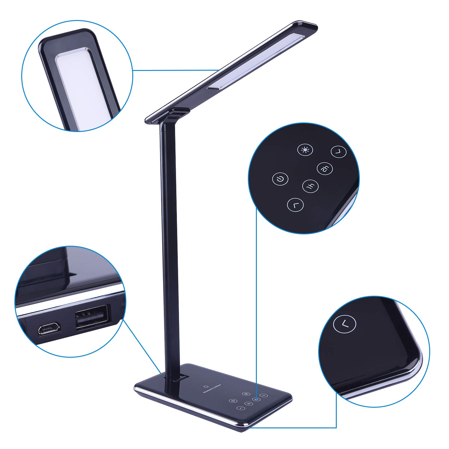 Folding LED Desk Lamp,USB Charging Port and Wireless Charging 1//2h Timer Table Lamp Smart Touch Eye-Caring Automatic Timing 4 Lighting Modes and 5 Level Brightness Night Light