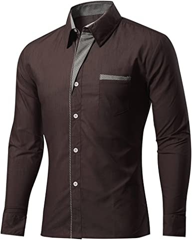 Luckywe Mens Printing 100/% Cotton Long Sleeves Slim Fit Button Down Dress Shirt