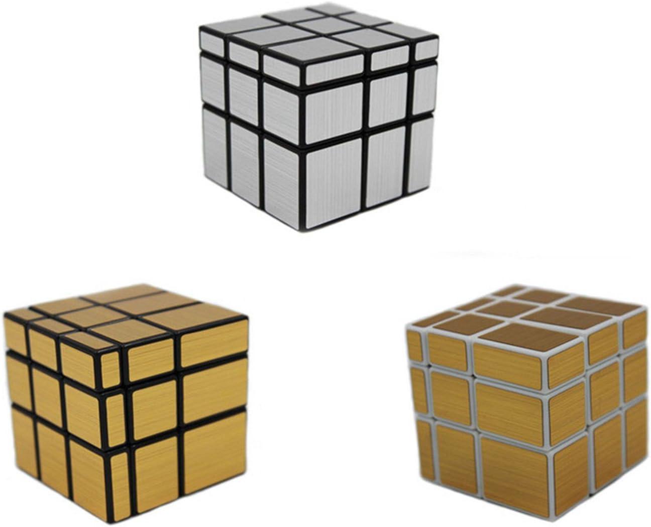 MEISHINE® 3 Pack 2 Dorado Mirror Cube + 1 Silver Mirror Cube Cubo Mágico Inteligencia Mágico Cubo de la Velocidad Juego de Puzzle Cube Speed Magic Cube Stickerless: Amazon.es: Juguetes y juegos