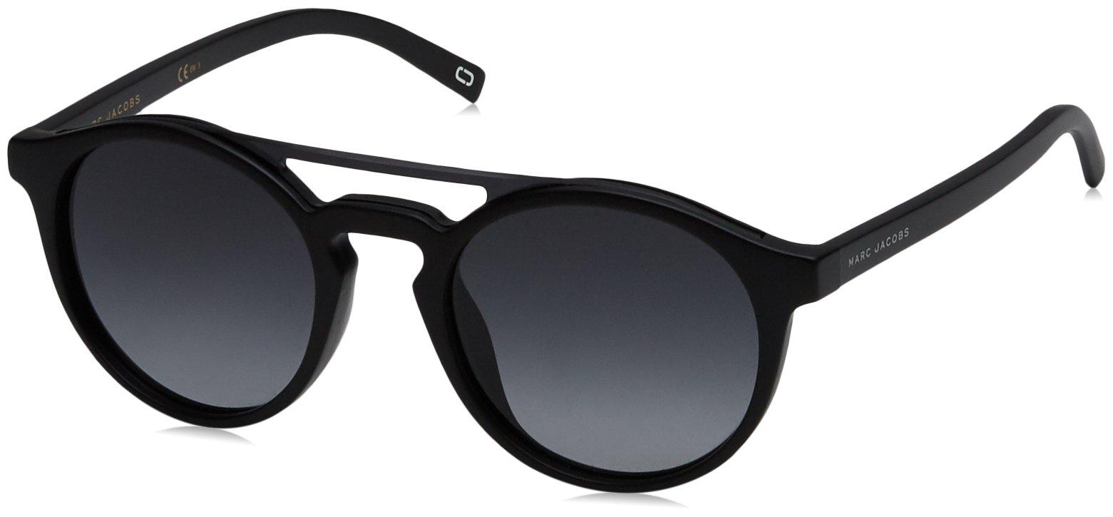 Marc Jacobs Women's Marc107s Round Sunglasses, Shiny Black/Dark Gray Gradient, 99 mm