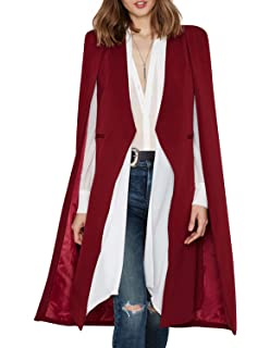 5ded98a36d HaoDuoYi Women Casual Open Front Cape Trench Duster Coat Longline Blazer