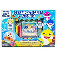 Baby Shark 99351 Stamp & Sticker by Horizon Group USA Includes Colored Markers, Sticker Sheets, Puffy Stickers, Self-Ink Stampers, Liquid Filled Activity Book Glitter Glue & More, Multi