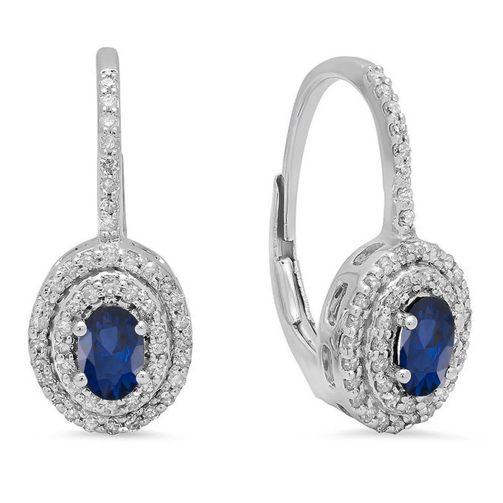 10K White Gold Oval Blue Sapphire & Round White Diamond Ladies Halo Style Dangling Drop Earrings