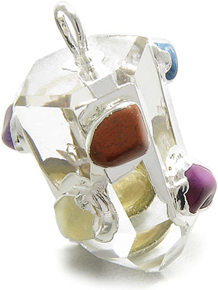 BestAmulets Rock Quartz Healing Crystal Point with Tumbled Multi Crystals Agate Pendant