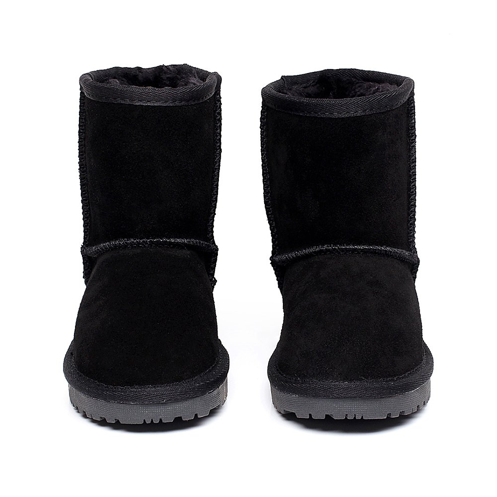 Shenn Boy's Girl's Cute Comfort Ankle High Winter Warm Suede Leather Snow Boots TD1025(Black,13 M US Little Kid) by Shenn (Image #3)