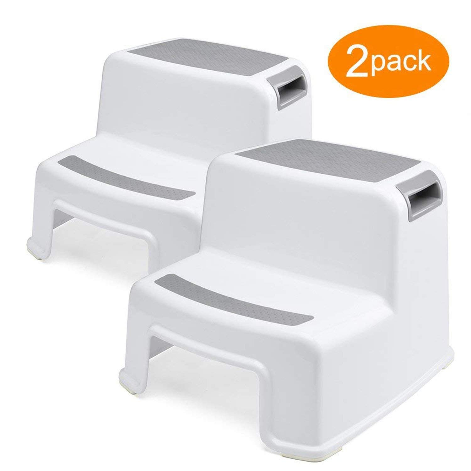 Dual Height Step Stool for Kids (2 Pack) Toddler's Stool for Toilet Potty Training and Use in The Bathroom or Kitchen Versatile Two-Step Design for Growing Children Soft-Grip Steps Provide Comfort Mobay MB-JTD-2-GRAY