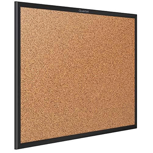 Quartet Corkboard, Framed Bulletin Board, 5 x 3 feet, Cork Board, Black Frame (2305B)