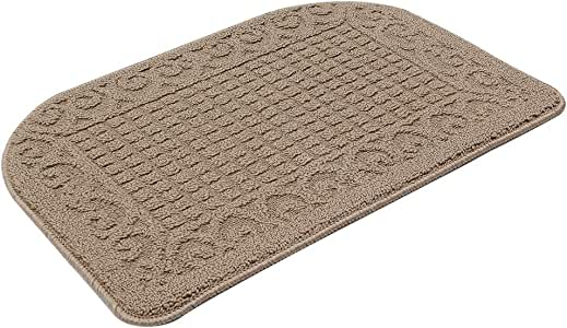 27X18 Inch Anti Fatigue Kitchen Rug Mats are Made of 100% Polypropylene Half Round Rug Cushion Specialized in Anti Slippery and Machine Washable (Beige 1 pc)