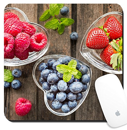 Luxlady Suqare Mousepad 8x8 Inch Mouse Pads/Mat design IMAGE ID: 41294551 Mix of fresh berries in three glass ramekins in shape of heart on wooden background top view h ()