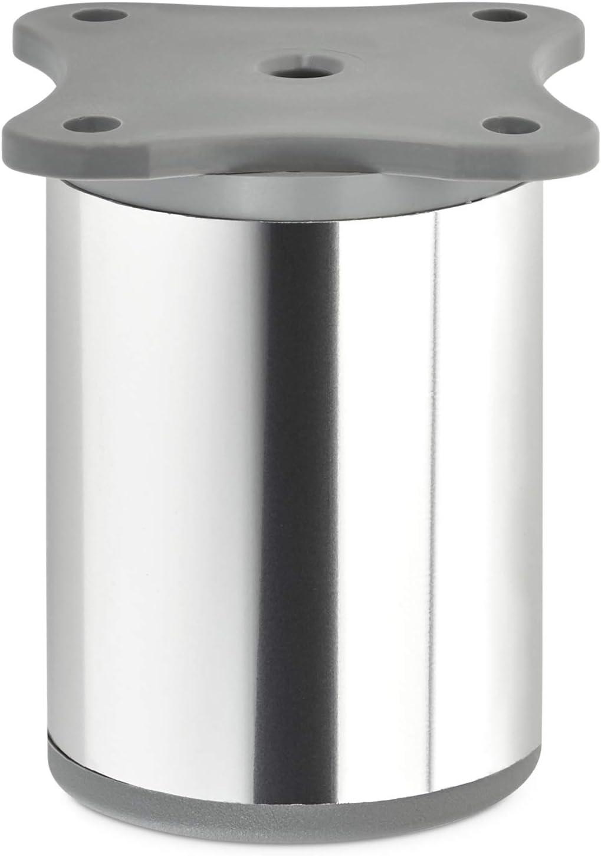 + 10 mm SOTECH 4 St/ück M/öbelf/ü/ße Echo 60 mm /Ø 40 mm Chrom poliert h/öhenverstellbare Schrankbeine aus Aluminium