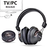 Avantree HT3189 Wireless Headphones for TV, Computer, with Bluetooth Transmitter (Support 3.5mm AUX, RCA, PC USB Audio, NOT Optical), Plug & Play, No Delay, 100ft Long Range, 40hrs Battery