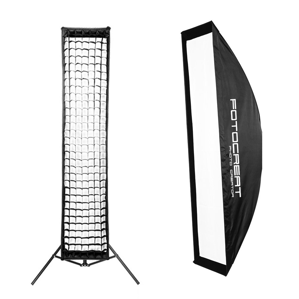 FOTOCREAT 14''×63''(35×160cm) Quick Folding Bowens Mount Strip Softbox with Honeycomb Grid for Studio Flash Speedlite