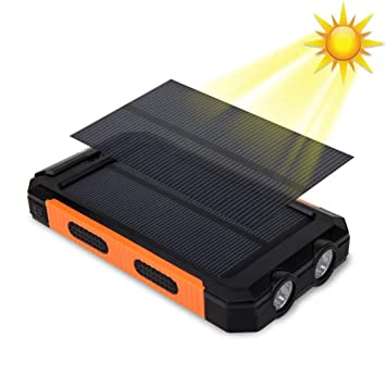 melysEU 20000mAh Cargador Solar portátil de Powerbank Portable Energy Batería Externa Doble USB General con batería y compás (Naranja)