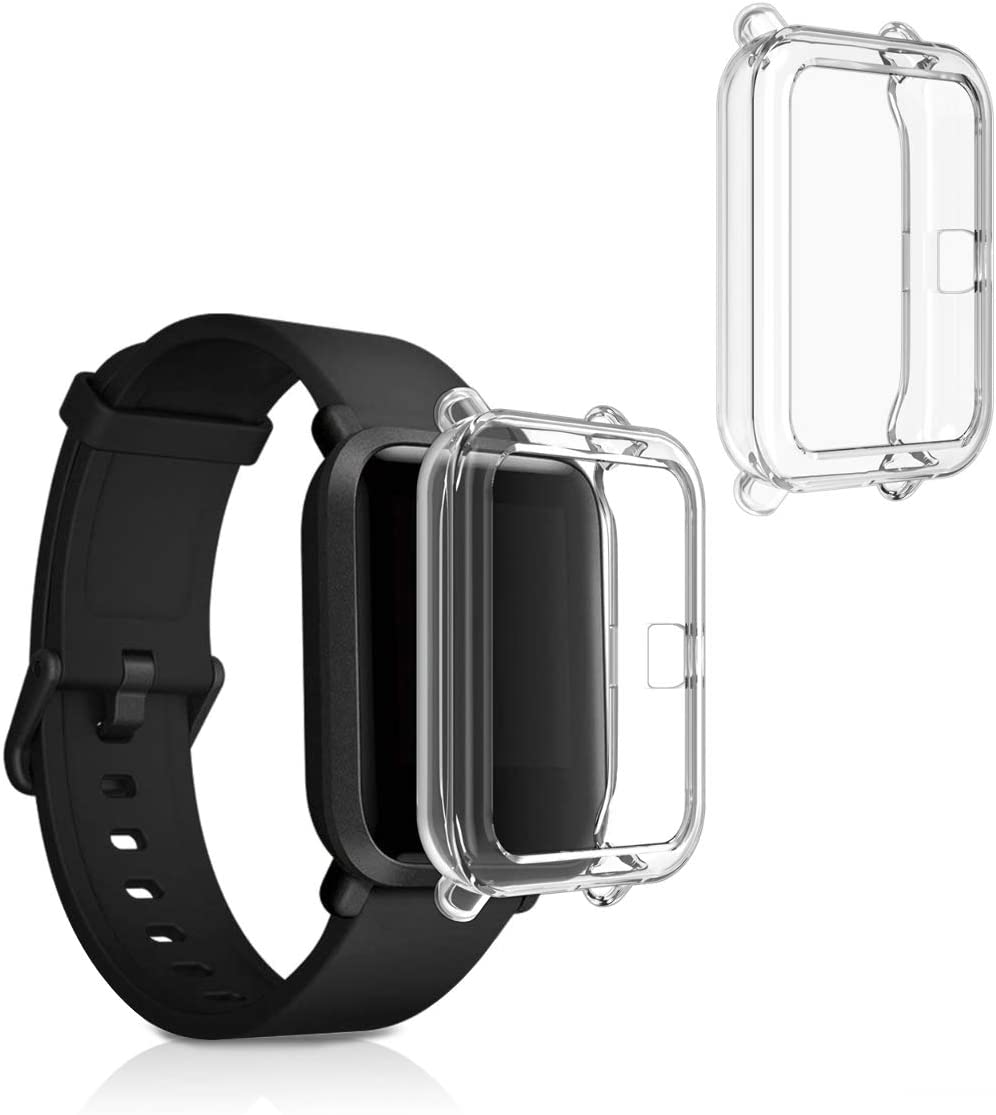 kwmobile 2 Pack de Fundas Compatible con Fitness Tracker Xiaomi Amazfit Bip/Bip Lite - Case en Transparente