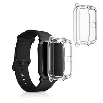kwmobile 2 Pack de Fundas para Fitness Tracker Xiaomi Amazfit Bip/Bip Lite - Protector para Reloj - Transparente