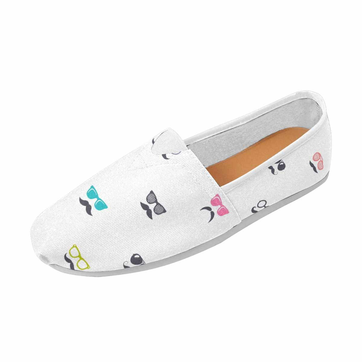 InterestPrint Women Flat Slip on Driving Walking Flats Shoes Fashion Loafers Glasses and Mustache