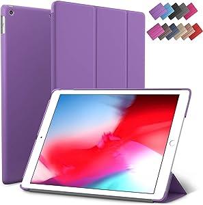 iPad Mini 5 case, ROARTZ Purple Slim Fit Smart Rubber Coated Folio Case Hard Cover Light-Weight Wake/Sleep for Apple iPad Mini 5th Generation 2019 Model A2133 A2124 A2126 7.9-inch Display