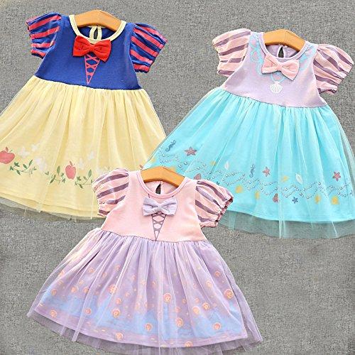 [해외] M137 화이트설 공주와 일곱 난쟁이 드레스 인어 공주 키즈 아리엘 어린이용 드레스 머메이드 소녀 아이 프린세스 드레스 드레스 변신(나리키리) 공주님 부드럽게 (110,인어 공주 드레스)