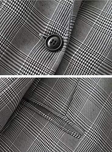 Fashion Autunno Ragazza Blazer Moda Sudore Classiche Lunghe Maniche Ufficio Parigine Donna 3 Chic Stile Reticolo Grau Camicia Primaverile Elegante Bavero Business 44Ppt