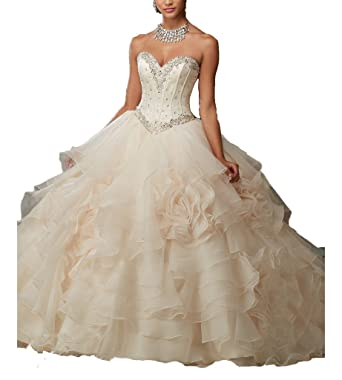 c1ce792f00c2 Elegant Women Beaded Long Ball Gown Prom Dress Plus Size Quinceanera Dresses  0 US Champagne