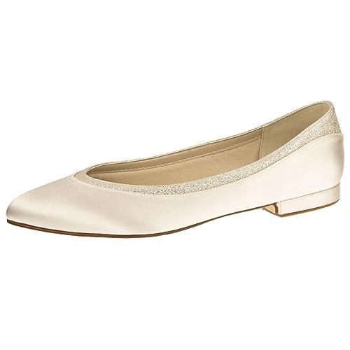 Bailarinas Shoes Mujer De Hueso Blanco Satén Elsa Coloured Para REx7ECw