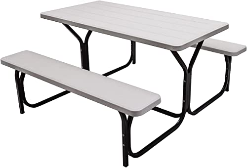 Giantex Picnic Table Bench Set Outdoor Camping All Weather Metal Base Wood-Like Texture Backyard Poolside Dining Party Garden Patio Lawn Deck Large Camping Picnic Table