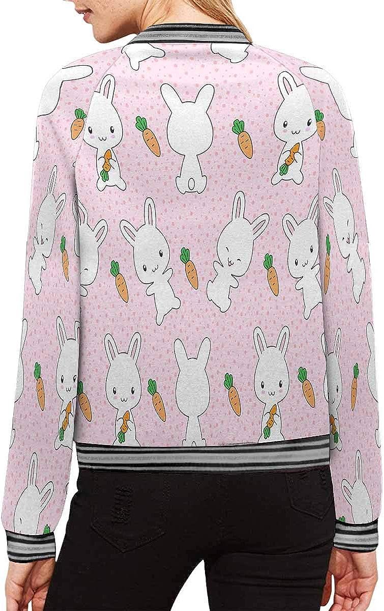 INTERESTPRINT Womens Cute Bunnies Carrots Jacket Outwear