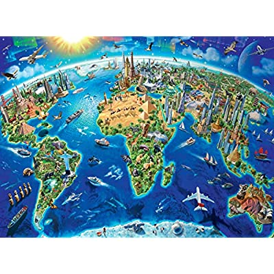 Ravensburger -World Landmarks Map - 300 Piece Jigsaw Puzzle for Kids – Every Piece is Unique, Pieces Fit Together Perfectly: Toys & Games