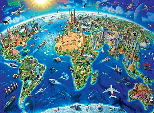 Ravensburger -World Landmarks Map - 300 Piece Jigsaw Puzzle for Kids - Every Piece is Unique, Pieces Fit Together ()