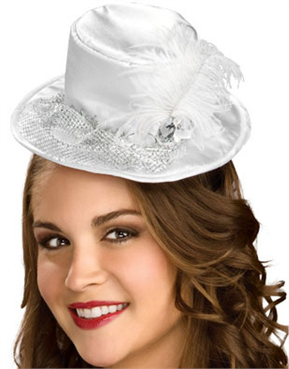 Rubie's Costume Co. 49881 White Satin Mini Top Hat with Sl Costume, One Size, Multicolor