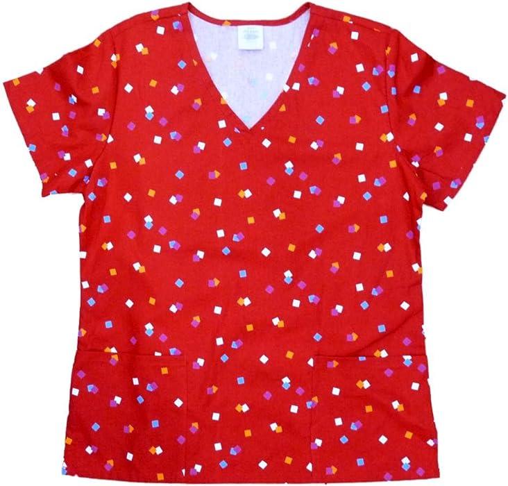 9028bcbd001 Simply Basic Womens Red Confetti Medical Smock Nurse Scrubs Shirt Top Small