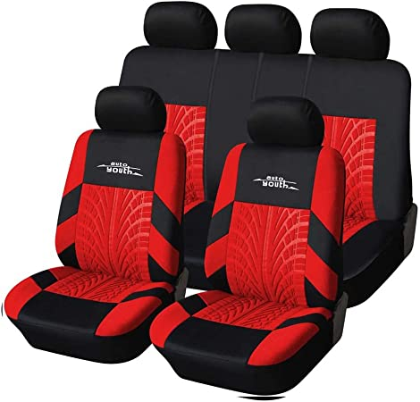 Autoyouth Car Seat Covers Universal Fit Full Set Car Seat Protectors Tire Tracks Car Seat Accessories 9pcs Black Red Automotive Amazon Com